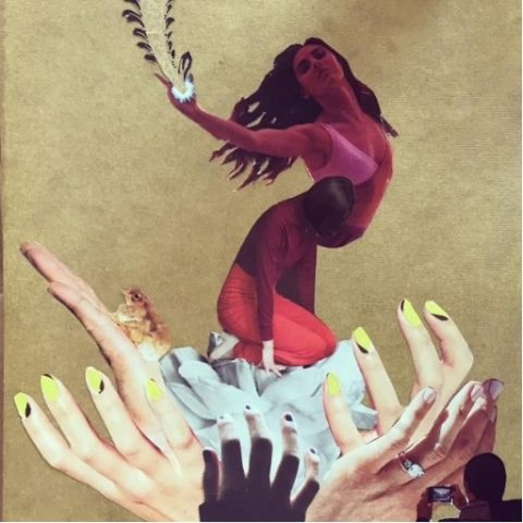 A collage of a red-tinted woman emerging from a flower made of hands.